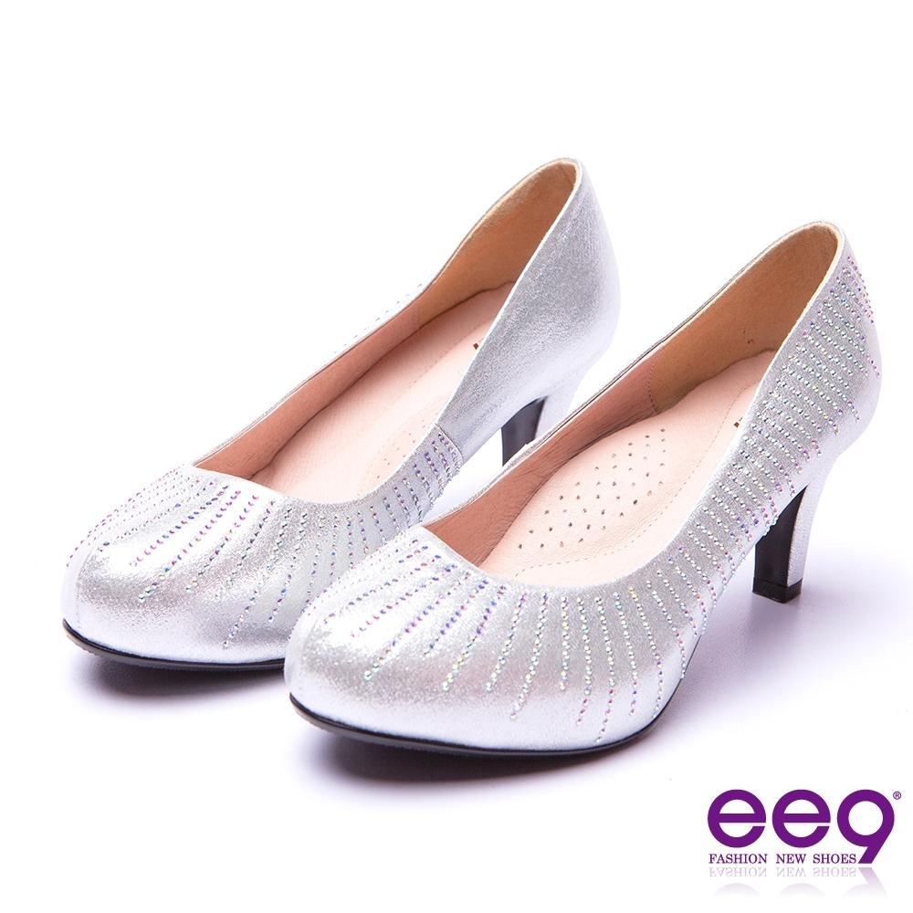 ee9芯滿益足 璀璨迷人奢華閃耀鑲嵌亮鑽內增高跟鞋 銀色