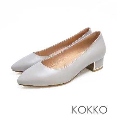 KOKKO - OL最愛尖頭金屬軟墊粗跟鞋 - 霧灰藍色