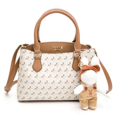 PLAYBOY-  手提包附長背帶 四季兔的午茶時光系列 -米白色