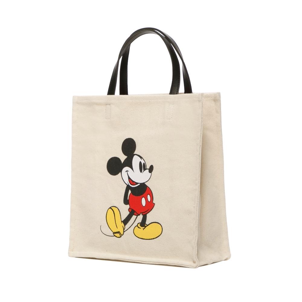 Disney collection by grace gift-迪士尼米奇圖案帆布方包 米白