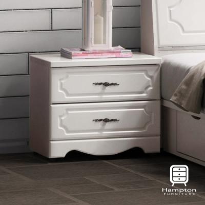 漢妮Hampton托比拉烤白床頭櫃-52.5x40x46.5cm