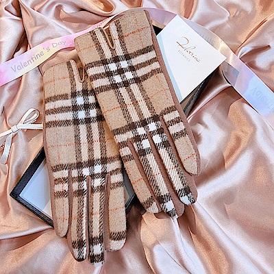 梨花HaNA 韓國經典學院格紋棕色可觸屏手套