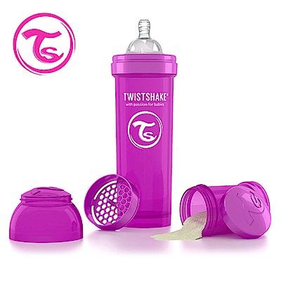 Twistshake 瑞典時尚 彩虹奶瓶/防脹氣奶瓶330ml/奶嘴口徑1mm-魔幻紫
