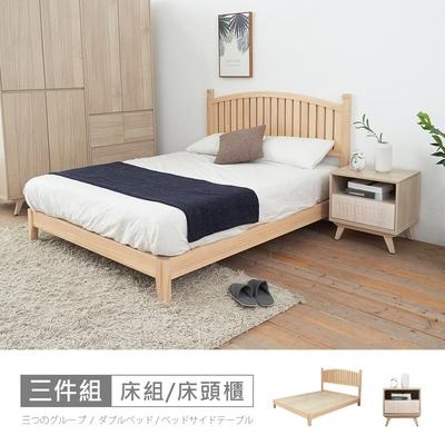 時尚屋 丹麥床片型3件組3.5尺單大-床片+床架+床頭櫃-白(不含床墊)