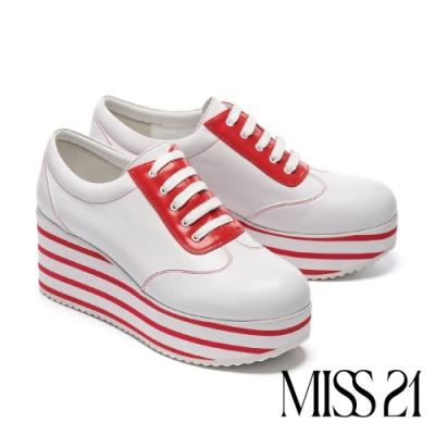 休閒鞋 MISS 21 復古千層底全真皮綁帶厚底休閒鞋-紅