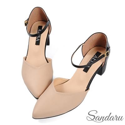 山打努SANDARU-瑪莉珍鞋 顯瘦V字尖頭側釦粗跟鞋-駝