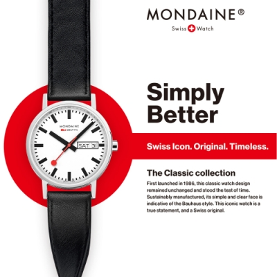 MONDAINE 瑞士國鐵 SBB Classic Day Date經典雙曆腕錶 – 36mm