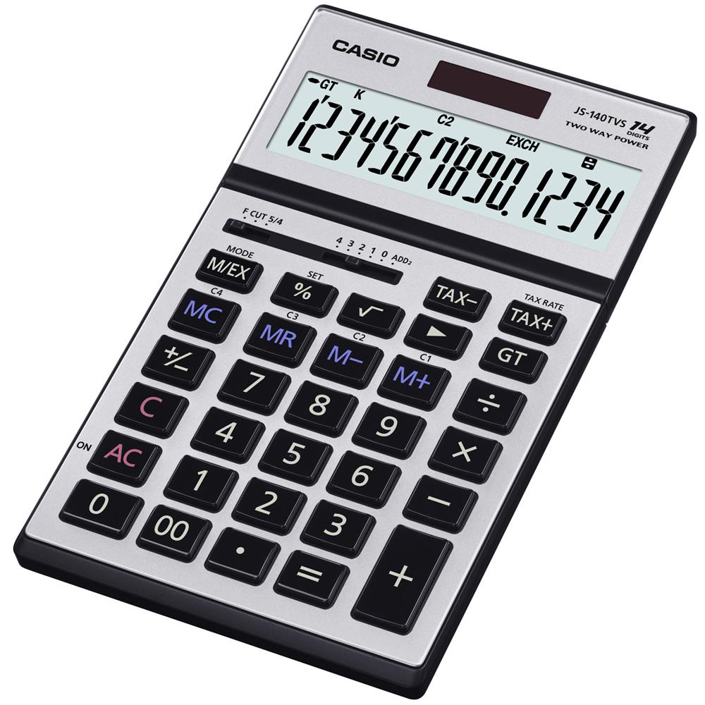 CASIO 14位數桌上型可摺式面板計算機 (JS-140TVS-SR銀)