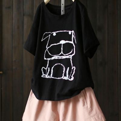 童趣多多洋氣卡通印花純棉短袖T恤上衣-設計所在