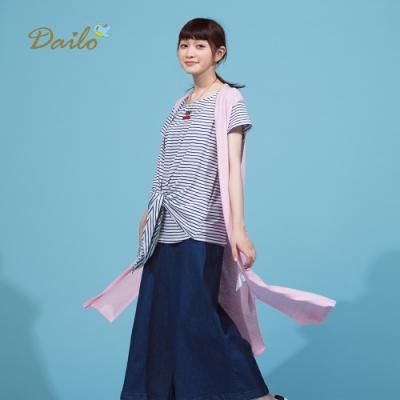 【Dailo】慵懶舒適長版針織-罩衫(二色)