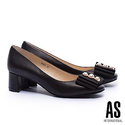 高跟鞋 AS 典雅珍珠織帶復古造型全真皮高跟鞋-黑