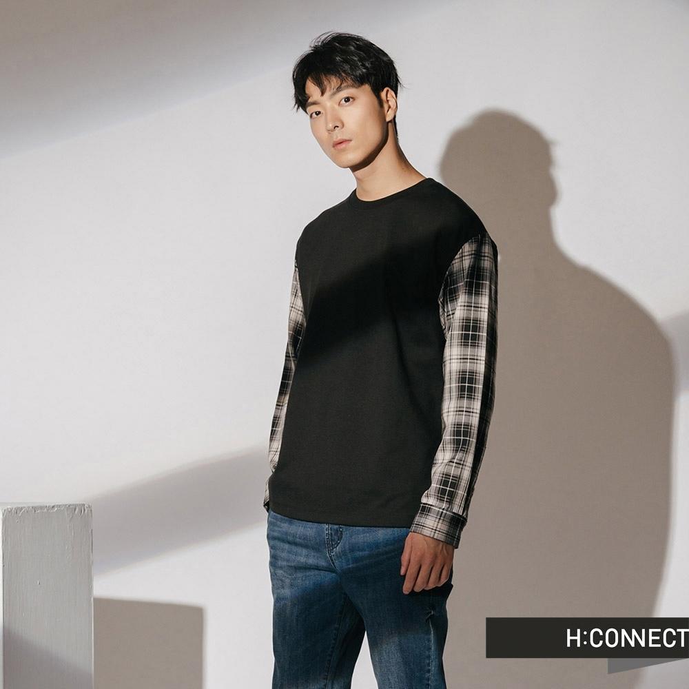 H:CONNECT 韓國品牌 男裝-格紋拼接袖上衣-黑