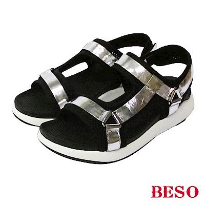 BESO-時尚酷感-異材質運動休閒運動涼鞋-銀