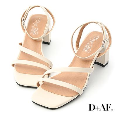 D+AF 名模私著.一字斜帶繫踝高跟涼鞋*米