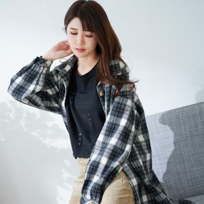 慢 生活 寬鬆大口袋格紋襯衫- 黑/深咖
