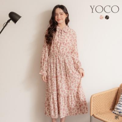 東京著衣-YOCO 氣質淡雅花朵蝴蝶結領縮腰長洋裝