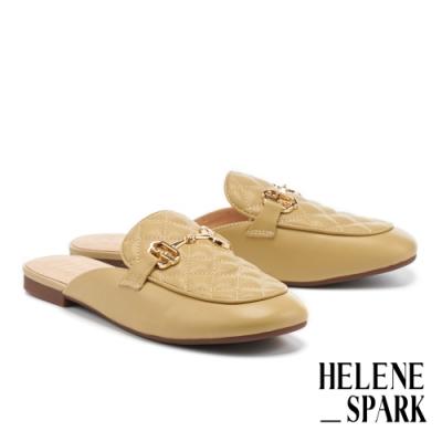穆勒鞋 HELENE SPARK 文青時髦馬銜釦菱格紋羊皮平底穆勒拖鞋-黃