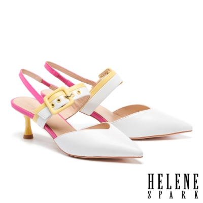 高跟鞋 HELENE SPARK 高彩撞色繽紛後繫帶尖頭高跟鞋-白
