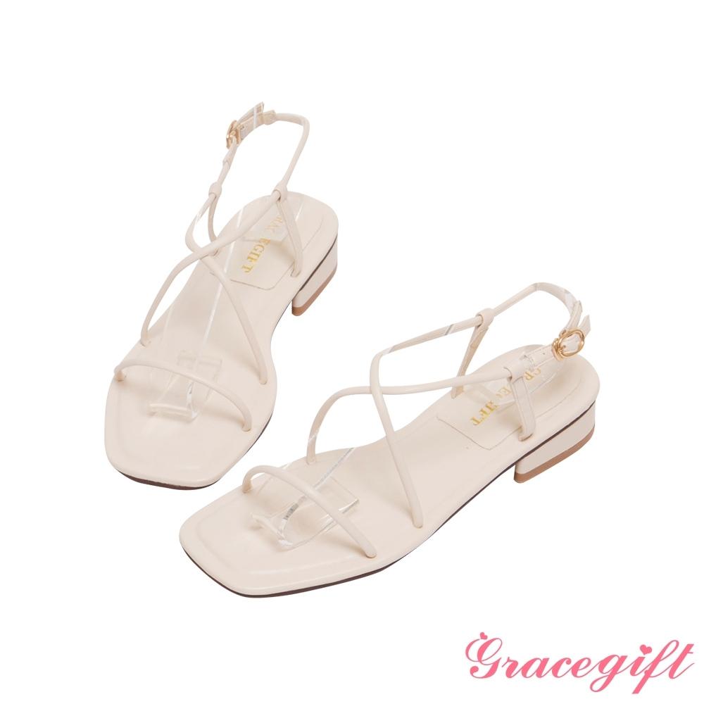 Grace gift-一字交叉繫踝低跟涼鞋 米白