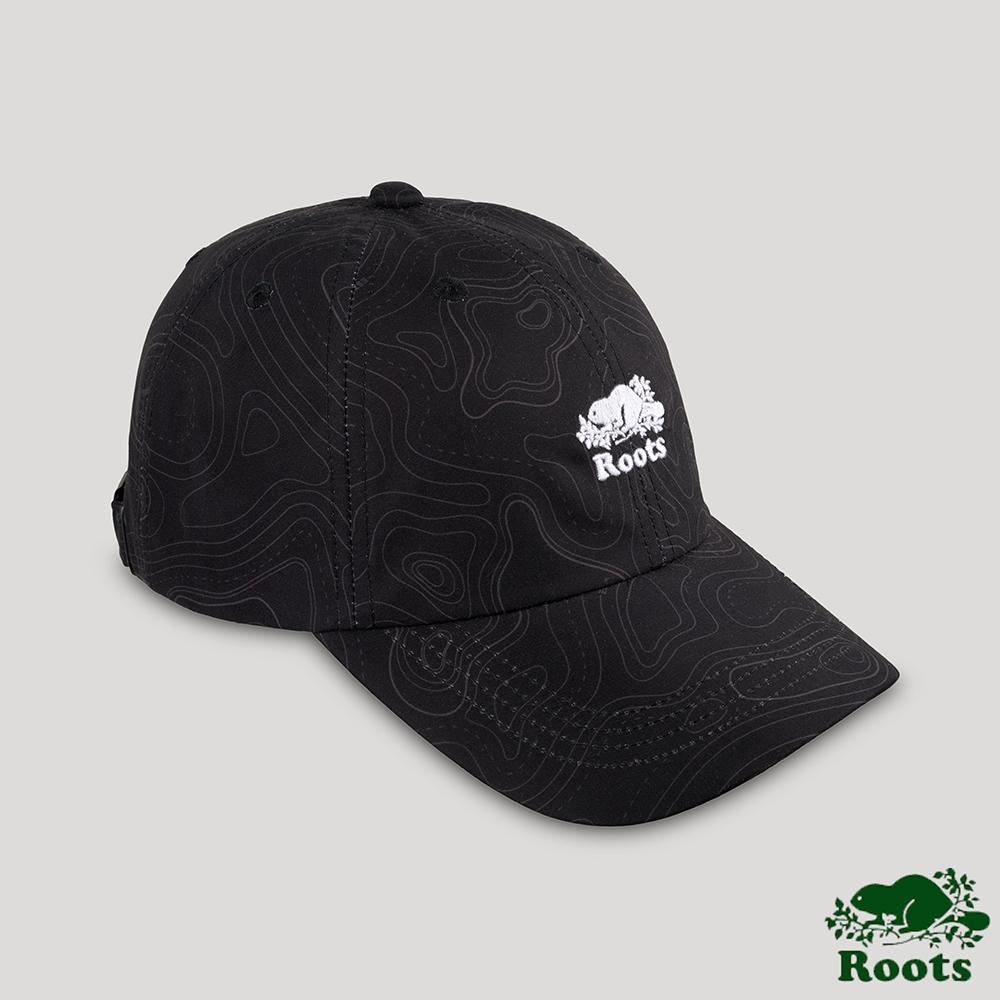 Roots配件-開拓者系列 等高線元素棒球帽-黑色
