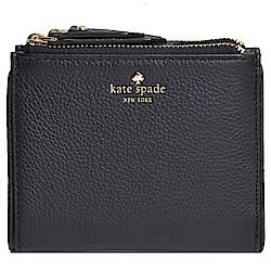 Kate spade SMALL MALEA 品牌字母荔枝壓紋皮革對折雙拉鍊皮夾(黑)