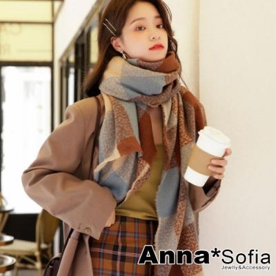 【2件69折】AnnaSofia 英式古典格紋 柔軟厚織大披肩圍巾(藍駝咖系)