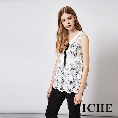 ICHE 衣哲 領結精緻3D蕾絲雕花傘擺造型上衣