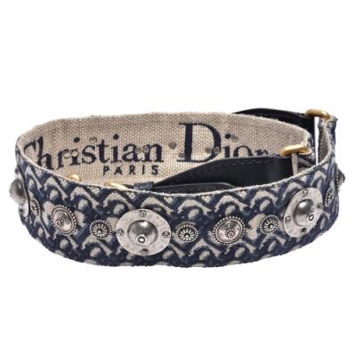 Dior 經典OBLIQUE緹花布復古銀色金屬飾章肩背帶(藍)