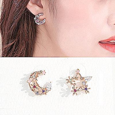梨花HaNA 韓國925銀彩鑽星月花園不對稱耳環