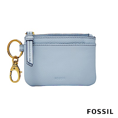 FOSSIL AUBREY 零錢卡夾鑰匙包-粉藍色
