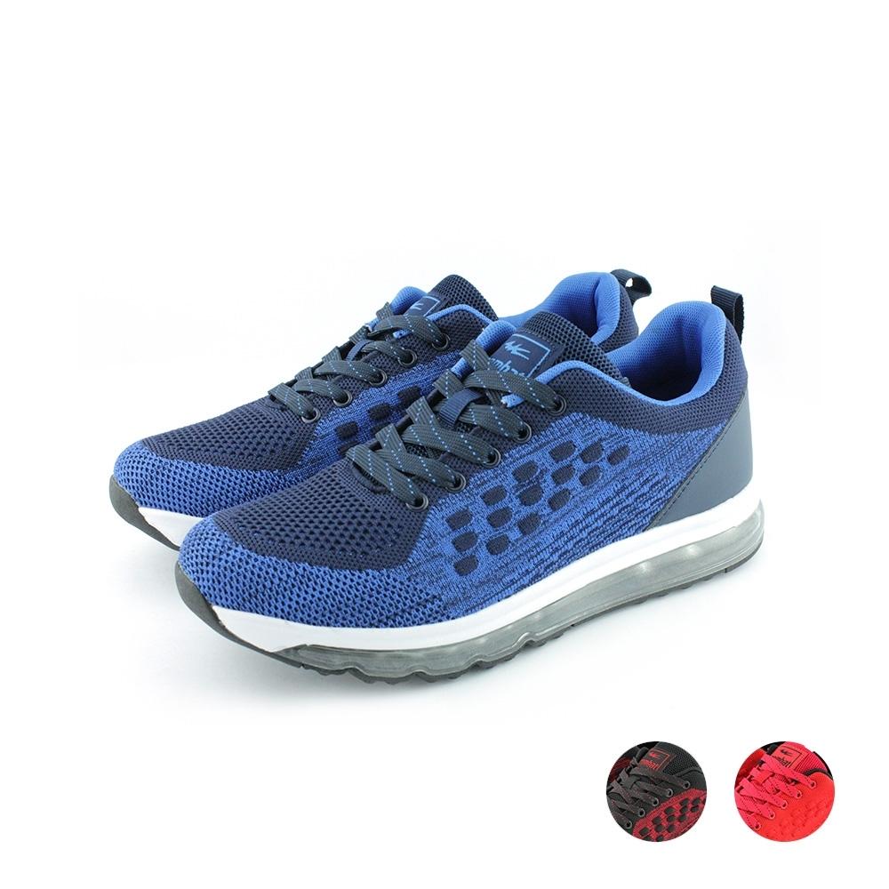 艾樂跑Combat男款 輕量針織運動鞋-藍/紅/黑紅 (22-568)
