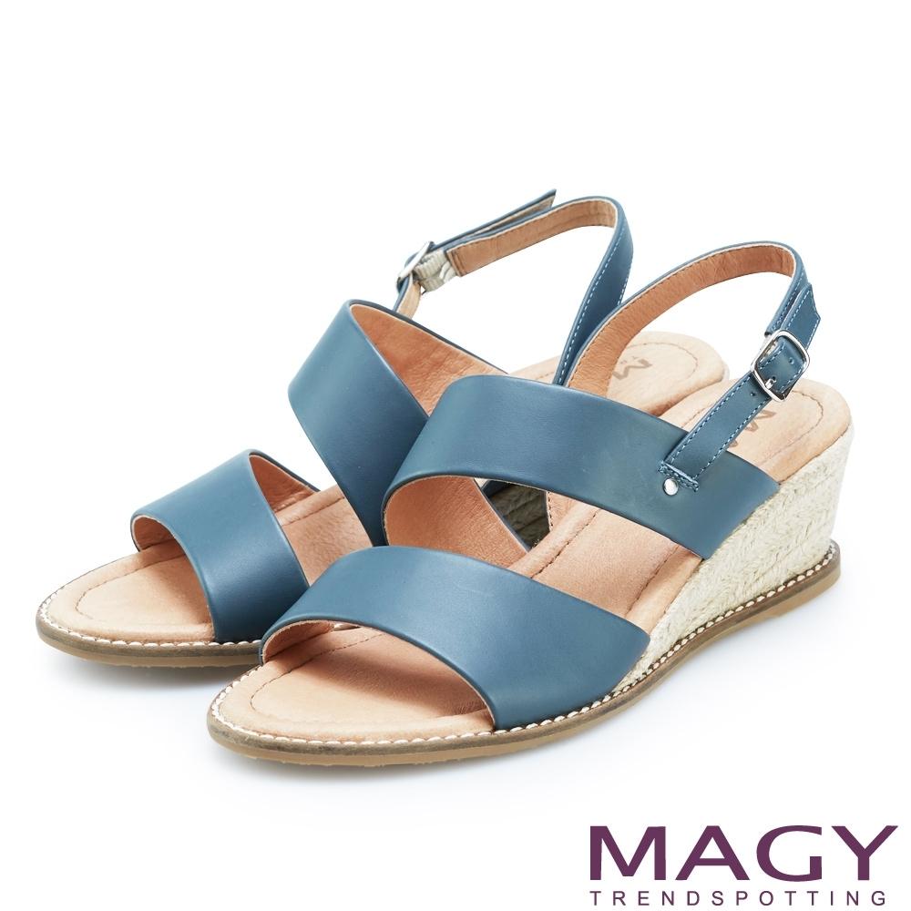 MAGY 寬版二字牛皮麻編楔型涼鞋 藍色