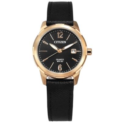 CITIZEN 限量款 礦石強化玻璃 日期 小牛皮壓紋手錶-黑x香檳金框/28mm