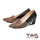 TAS 雙色蛇紋拼接尖頭粗跟鞋-人氣黑 product thumbnail 1