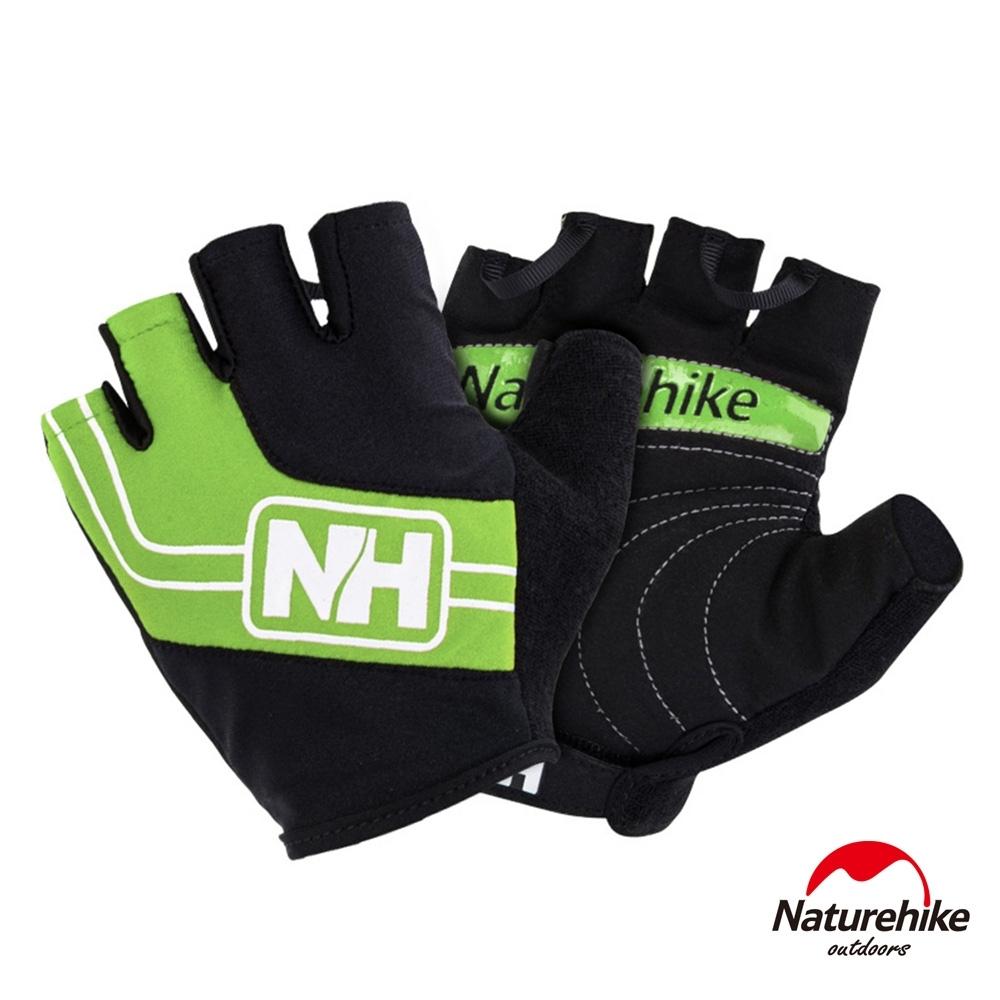 Naturehike 脫環加厚耐磨戶外運動騎行半指手套 綠色