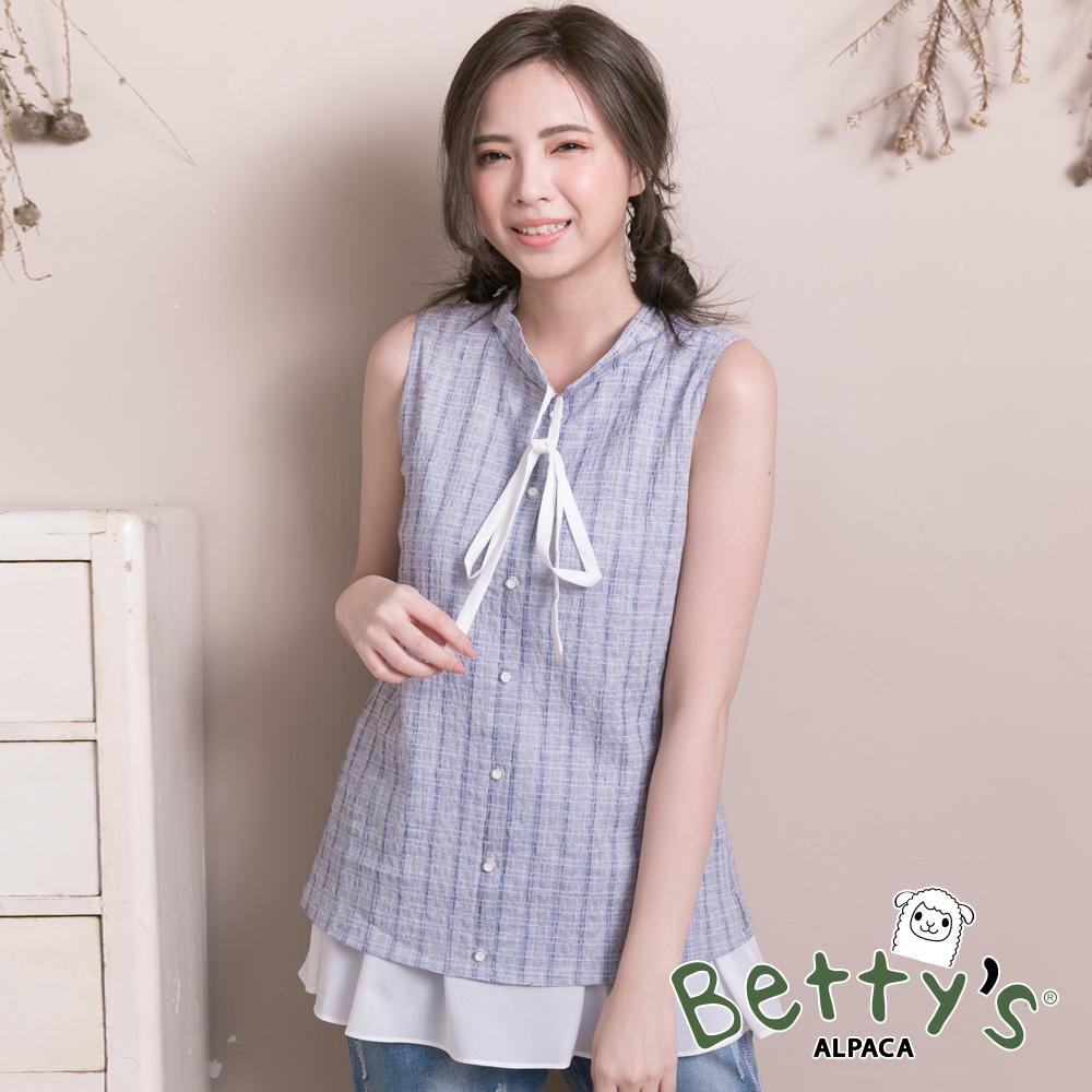 betty's貝蒂思 小立領格紋雪紡拼接假兩件背心(深藍) @ Y!購物