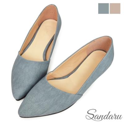 山打努SANDARU-尖頭鞋 簡約素面壓紋平底鞋-藍