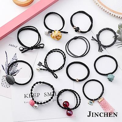 JINCHEN 韓版森林系女孩髮圈 髮繩 髮束12件組