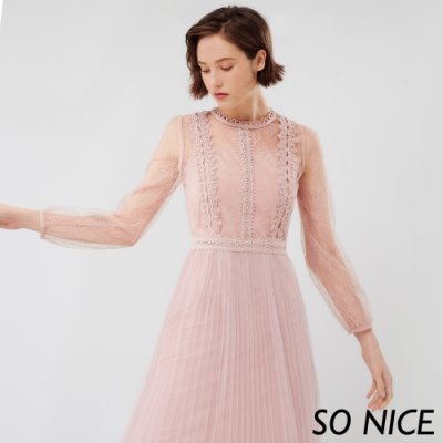 SO NICE優雅花邊刺繡蕾絲洋裝