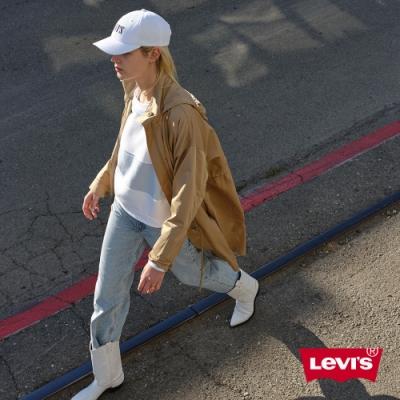 Levis 女款 長版連帽風衣外套 寬鬆版型 腰間抽繩設計 卡其色