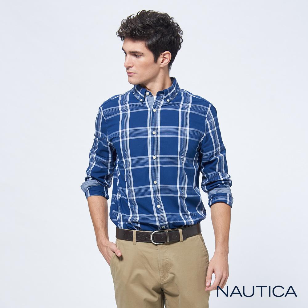 Nautica修身雙色格紋長袖襯衫-深藍