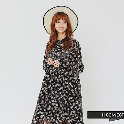 H:CONNECT 韓國品牌 女裝-飄逸感微透膚碎花洋裝-黑