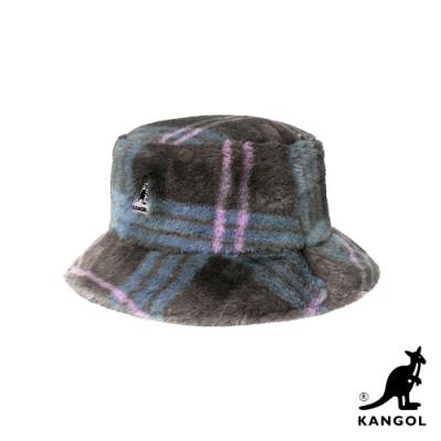 KANGOL-FAUX FUR 漁夫帽-灰褐格紋