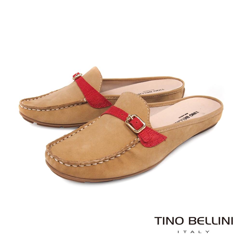 Tino Bellini 巴西進口休閒莫卡辛MIX穆勒平底鞋 _ 淺駝