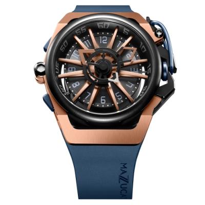 MAZZUCATO 義式美學鷗翼式翻轉機械石英雙面手錶(RIM02-BLCG6)