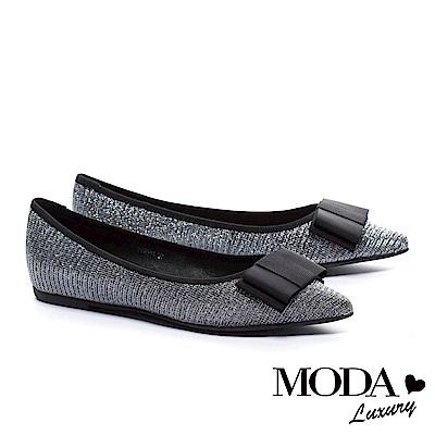 平底鞋MODA Luxury 氣質典雅蝴蝶結設計尖頭平底鞋-銀