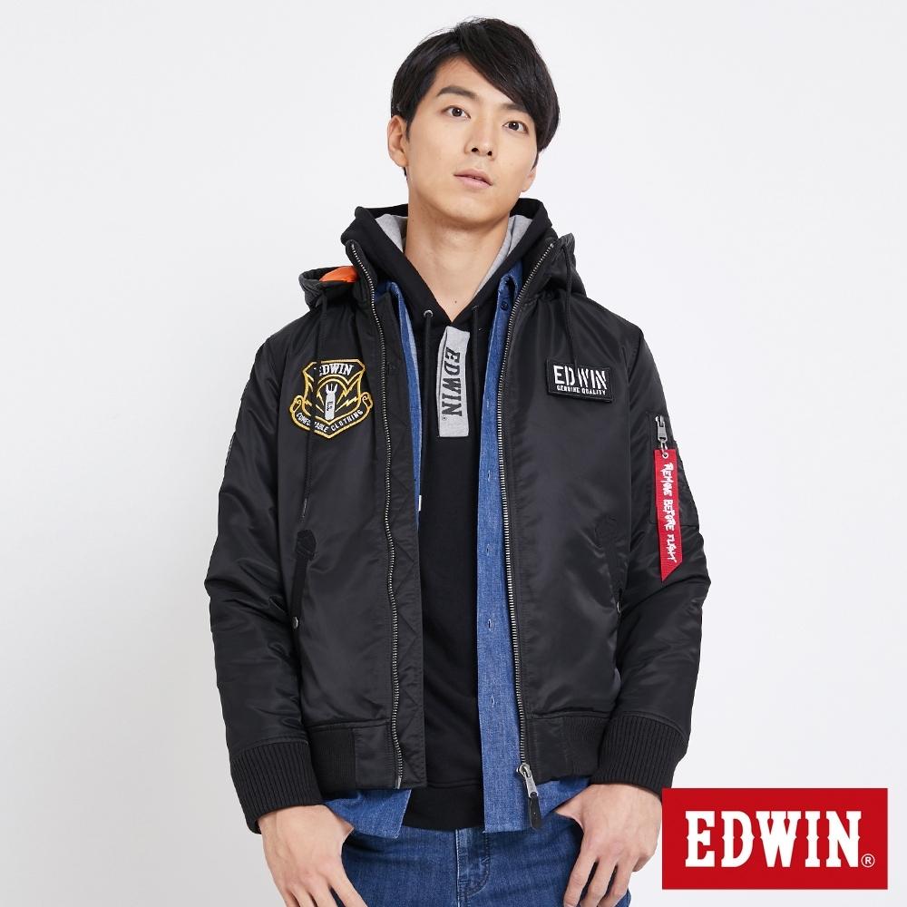 EDWIN 貼布繡立領可拆帽 舖棉MA1外套-男-黑色