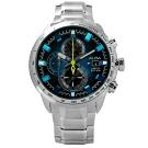 ALBA 限量 日期 三環計時 不鏽鋼手錶-藍黑色/47mm
