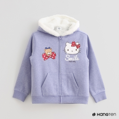 Hang Ten-童裝-Sanrio-童趣圖樣刷毛連帽外套-紫