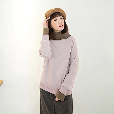 配色高領純色內刷毛衛衣上衣-OB大尺碼